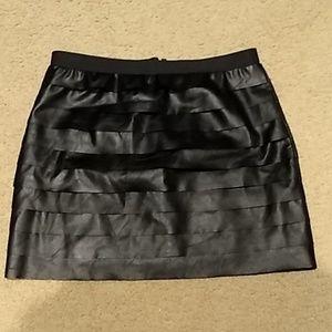 BCBG MAXAZRIA black vinyl mini skirt M